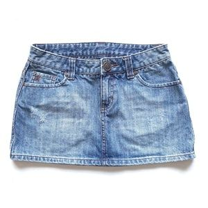 Hurley Distressed Denim Jean Mini Skirt